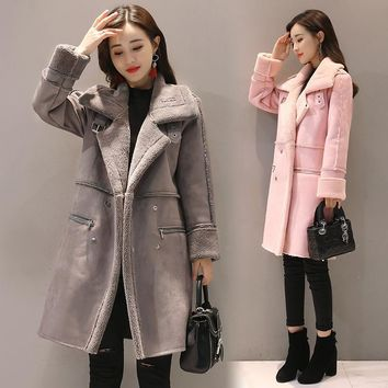NEW 2017 Winter Lambswool Suede Jacket Thicken Coat Warm Long Sleeve Jacket Women autumn female Long Overcoat