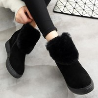 snow boots winter genuine leather solid color women winter boots adult round toe flat heel ankle boots for women