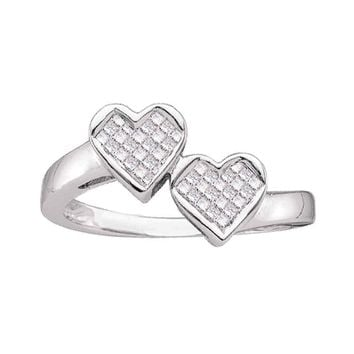 14kt White Gold Womens Princess Diamond Double Heart Love Ring 1/4 Cttw