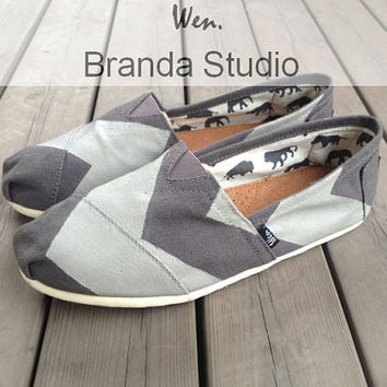 Gray Chevron Shoes Studio Hand Painted Shoes Custom Shoes,Canvas Shoes,100% Hand Painting-Wen's fashion shoes Flat ---Customizable