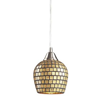 528-1GLD-LED Fusion 1 Light LED Pendant In Satin Nickel And Gold Leaf Glass