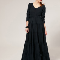 Plus Size Vintage Gothic O-neck Ankle-length A-line Maxi Dress
