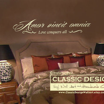 Vinyl Wall Decal - Amor Vincit Omnia, LOVE Conquers All, Latin Romantic quote with embellishments
