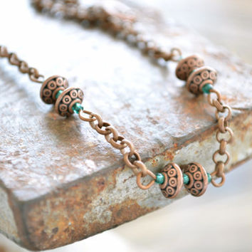 Aqua and Copper Necklace // Boho Copper Necklace // Bohemian Jewelry
