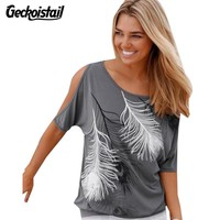 Geckoistail Summer Cotton T Shirt Women Fashion Tshirt Feather Printed T-shirt Loose Casual Short Sleeve Shirt Off Shoulder Tees