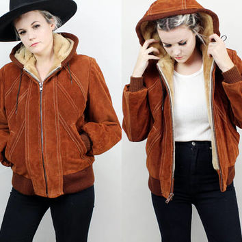 70s Suede Bomber Jacket with Hood, Fuzzy Fleece Lined, Size Medium Large, Brown Leather, Heavy Weight, Fall, Winter Coat, Hippie, Hispter