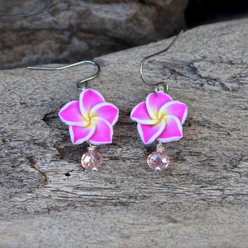 Pink Plumeria Earrings made in Hawaii - Hawaii Flower Earrings - Pink Plumeria Jewelry from Hawaii - Beach Bride Jewelry - Hawaiian Jewelry
