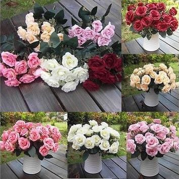 Artificial 1 Bouquet / 12 Heads Silk Rose Flower Leaf Wedding Party Bridal Decor [7981614983]