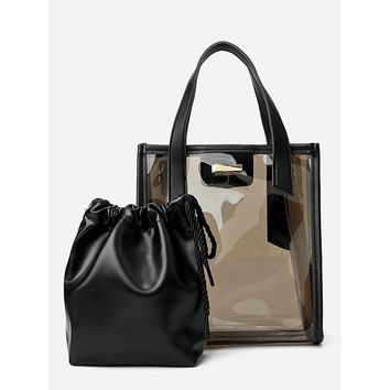 Iridescent Tote Bag With Inner Clutch