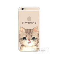 Super Cute Cartoon Cat Phone Case For iphone 4 4S SE 5 5S 5C 5G 6 6S 6Plus 6S Plus Slim Silicone Cover Back