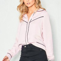 Isobella Pink Contrast Piping Blouse Missy Empire