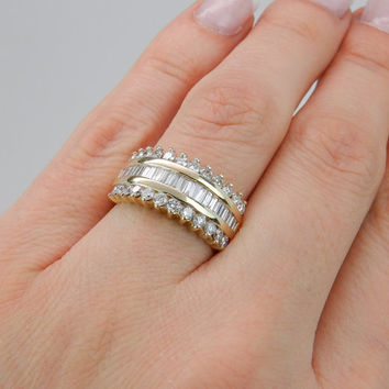 150 ct diamond wedding ring anniversary band wide 14k yellow gold size 675 - Wide Band Wedding Rings