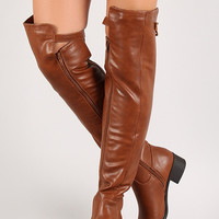 Elastic Panel Buckle Riding Over-The-Knee Boots
