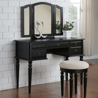 Black Solid Wood Vanity And Cushion Stool With Drawers For Make Up and Jewelry