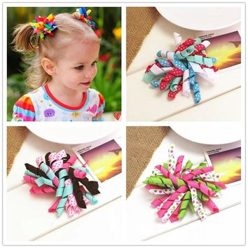 handmade ribbon flowers bow baby girls children hair clip pin rolls bow headwear hairpin accessories for hair ornaments hairclip