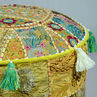 Yellow Round Indian Traditional Ottoman Seating Pouf Foot Stool on RoyalFurnish.com
