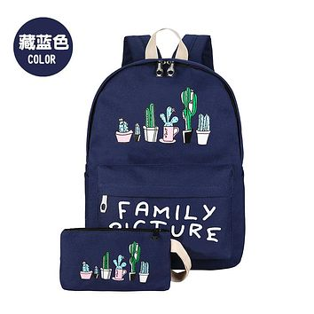 Fashion Lovely Cactus Backpack Female School Bag At Department Female All-match Sail Simple Literary Send Pen women travel bag