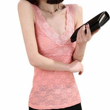 Sexy Corset Solid Sexy Lingerie Women Underwear Women Lace Floral T-shirt Tank Tops Sleeveless Stretch Crochet Vest Newest