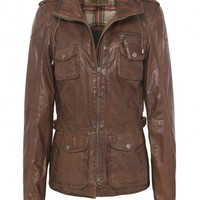 Jofama Tan Edith Leather Jacket