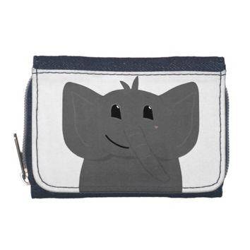 Cute Little Elephant Drawing Wallet