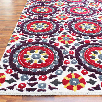 Bohemia Floral High Low Red Multi 5 x 8 Handmade Persian Style Wool Area Rug