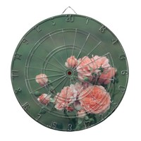 Beautiful pink roses on a natural green background dart board