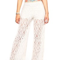 Embroidered Lace Wide Leg Pants - Wide Leg Pants at Pinkice.com