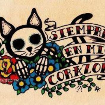Day of the Dead SIEMPRE Cat Print Donation to by illustratedink