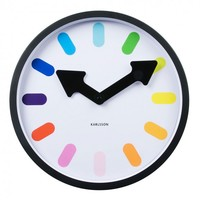 Online Interior Design | <p>With a bright array of lavish shades taking the place for the hour markings and with two bold arrows pointing you in the direction of time, the Pictogram Rainbow Wall Clock from Karlsson will make a grand and impressive addition
