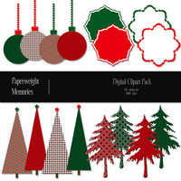 Digital Papers - Christmas Clipart - digital scrapbooking - red & green christmas clipart  - trees, ornaments - 300dpi  - Commercial Use