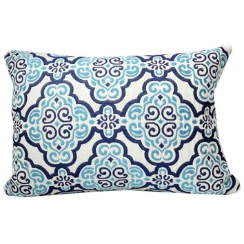 Fretwork Navy Blue and Turquoise Pillow