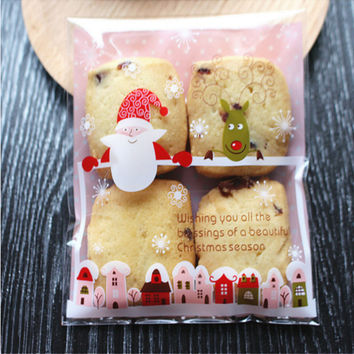 cheap 10*10cm 50pcs set Xmas Santa Claus Candy Bag Cookie Gift box Self Adhesive Pouch Party Wedding christmas decoration -8z
