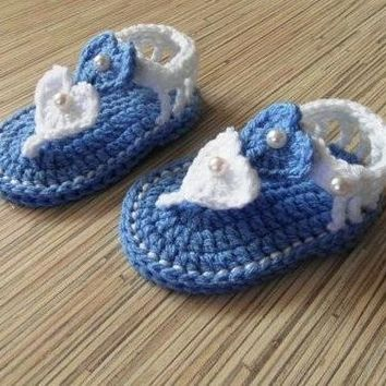 Crochet Baby Blue and white Heart Shaped Shoes