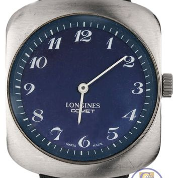 Men's Vintage Longines Comet Swiss 34mm Blue Dial Stainless Steel Watch