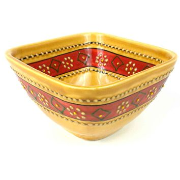 Encantada Mexican Ceramic Pottery Square Bowl - Honey