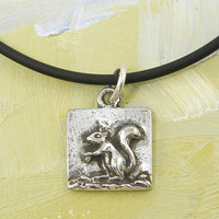 Silver Squirrel Necklace - Woodland Animal Pendant Charm with 18 Inch Black Cord