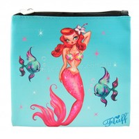 Fluff Tropical Mermaid Makeup Bag Cosmetic Bag Pouch