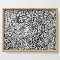 Grey and white swirls doodles Serving Tray by savousepate