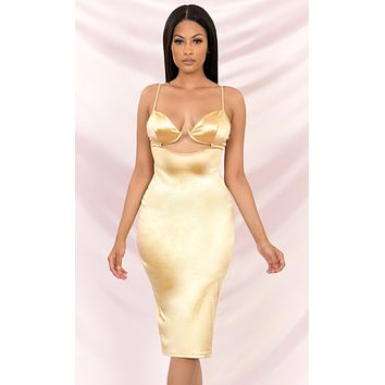Stand Up Gold Satin Sleeveless Spaghetti Strap V Neck Cut Out Waist Bodycon Midi Dress
