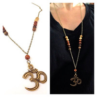 Om Statement Necklace. Ombre wood beads.