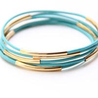 Set of 5 Mint leather Bangle Bracelets with gold by TheUrbanLady