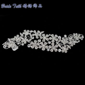 Rhinestone Crystal Long Flower Hair Combs Hairpins Head Jewelry for Women Bridal Wedding Hair Clips 0048