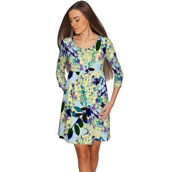 Pure Tenderness Gloria Babydoll Floral Blue Dress - Women