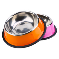 1 Pc High Quality Stainless Steel Pet Puppy Cat Dog Food Bowl Drink Water Dish Feeder 3 Colors