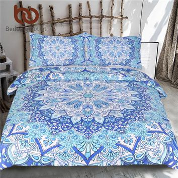 BeddingOutlet 3 Piece Bohemian Bedding Set Floral Paisley Pattern Duvet Cover Set Sky Blue India Hippie Mandala Bedspread 4 Size