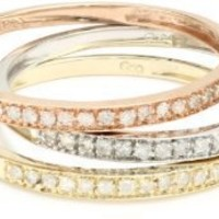 10k Tri-Colored Gold Diamond Stack Ring (1/4 cttw, J-K Color, I2-I3 Clarity), Set of 3, Size 5