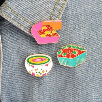 Trendy Hfarich Cute Cartoon Strawberry Cookies Rainbow Bowl Pins Brooches Denim Jacket Buckle Shirt Badge Gift for Kids girls Food jewe AT_94_13