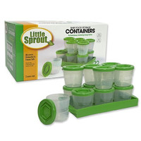 Baby Food Containers By Little Sprout: Reusable Stackable Storage Cups with Tray and Dry-erase Marker (Set of 12 - 2oz) - Green