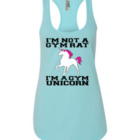 I'm Not a Gym Rat I'm a Gym Unicorn Terry Racerback Tank Top - yoga top, yoga clothes, racerback tank, funny workout tank, fitness tank