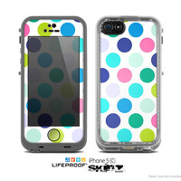 The Vibrant Colored Polka Dot V1 Skin for the Apple iPhone 5c LifeProof Case